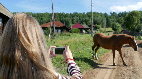 Girl takes pictures of a horse Footage