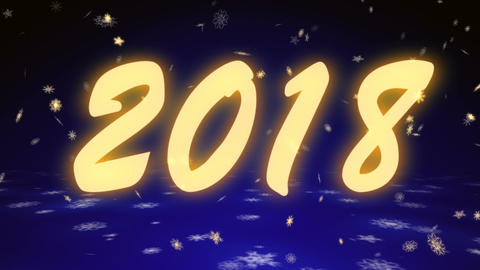 New Year 2018 from snowflakes on a dark blue background Animation