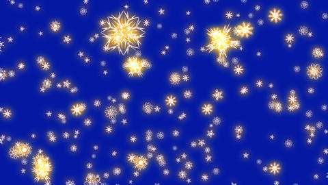 Christmas and New Year animation. Golden Christmas snowflakes on dark blue Animation