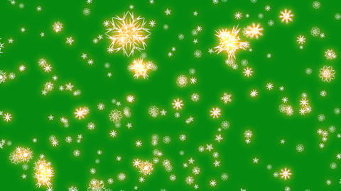 Christmas and New Year animation. Golden Christmas snowflakes on green Animation
