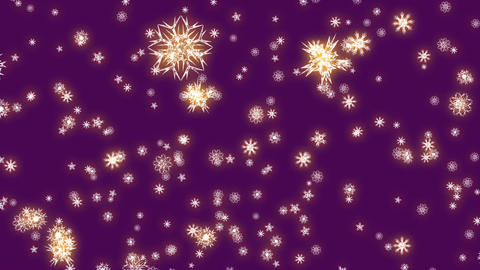 Christmas and New Year animation. Golden Christmas snowflakes on violet Animation
