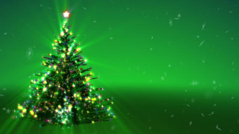 Growing Christmas tree and blizzard of snowflakes on a green background Animation