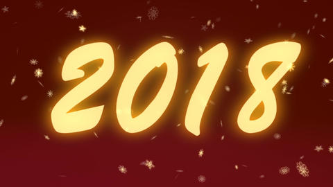 New Year 2018 with gold snowflakes on a red background Animation