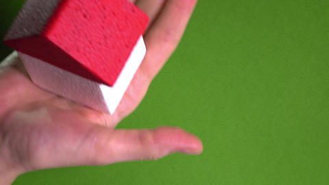 Female realtor holding toy house with red roof against green background. Real Footage