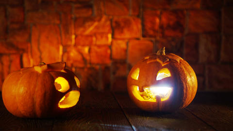 Funny and Scary Halloween Pumpkin Scared and Get Away CG動画素材
