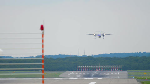 Turboprop aircraft approaching before landing Live Action