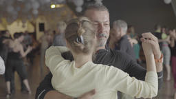 Dancers dance on the dance floor tango dance (milonga). Slow motion Footage