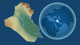 Iraq and Globe. Relief Animation