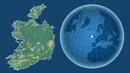 Ireland and Globe. Relief Animation