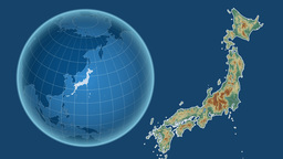 Japan and Globe. Relief Animation