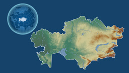 Kazakhstan and Globe. Relief Animation