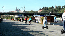 boats on the river in quay (Vltava) - city (buildings) in background - Prague Ca Footage