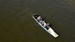 group of young people on board and paddling - canoeing - Vltava river Footage