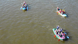 people on board and paddling - canoeing - Vltava river Footage