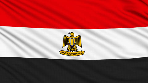 Egyptian flag, with real structure of a fabric Animation