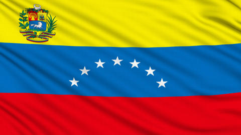 Venezuelan Flag, with real structure of a fabric Animation