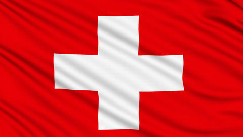 Swiss flag, with real structure of a fabric Animation