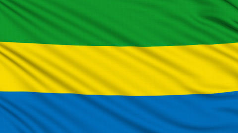 Gabon Flag, with real structure of a fabric Animation