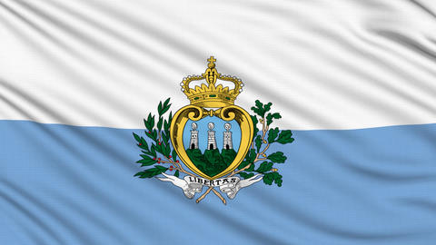 San Marino Flag, with real structure of a fabric Animation