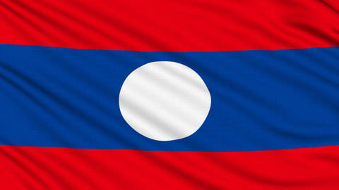 Laos Flag, with real structure of a fabric Animation