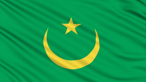 Mauritanian Flag, with real structure of a fabric Animation