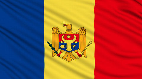 Moldova Flag, with real structure of a fabric Animation