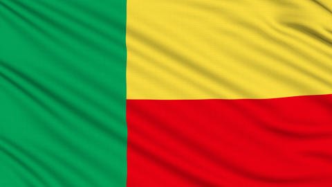 Beninese Flag, with real structure of a fabric Animation