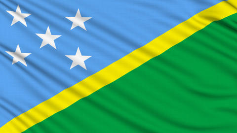 Solomon Islands Flag, with real structure of a fabric Animation