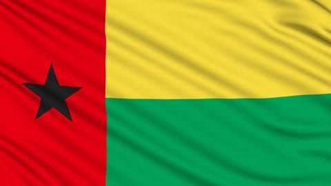 Guinea-Bissau Flag, with real structure of a fabric Animation