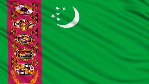 Turkmenistan Flag, with real structure of a fabric Animation