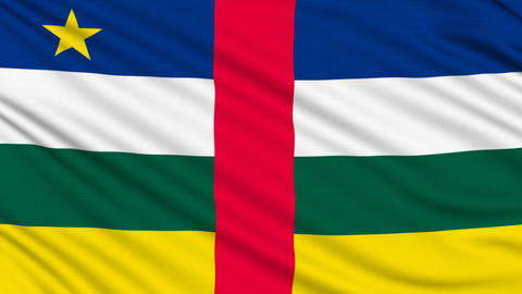 Central African Republic Flag, With Real Structure Of A Fabric stock footage