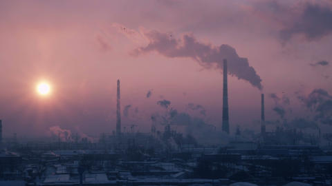 C0182_Oil Refinery Air Polution 4K stock footage