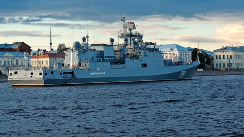 SAINT-PETERSBURG, RUSSIA - JULY 20, 2017: Frigate Admiral Makarov in the evening Footage
