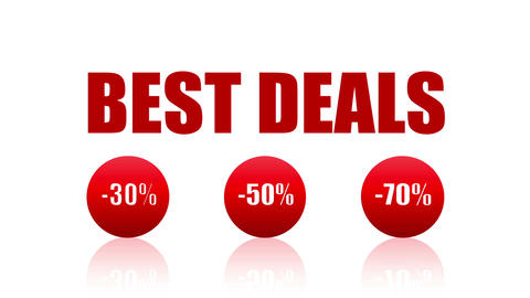 BEST DEALS Promotion Loopable Video (Endless, Seamless, Red, -30%, -50%, 70%) Animation