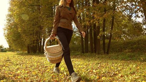Beautiful brunette woman walking through autumn woods, holding a picnic basket Footage