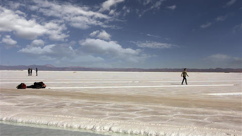 Tourists in Salt Flat in Argentina Image
