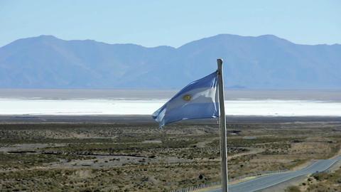 Argentine Flag in Salina Grande Salt Flat Footage