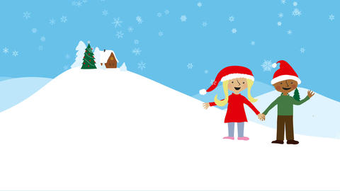 Celebrating xmas in snowy scenery Animation