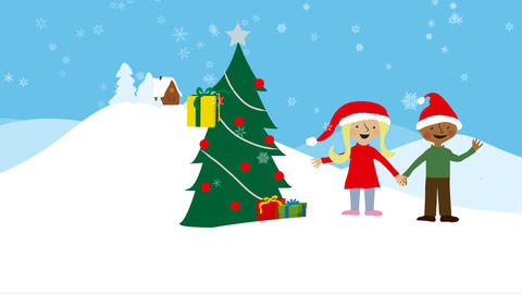 Children celebrating xmas in snowy scenery Animation