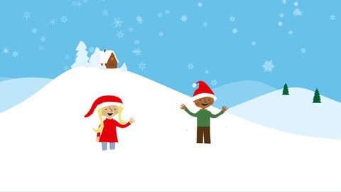 Celebrating xmas in snowy scenery Animation