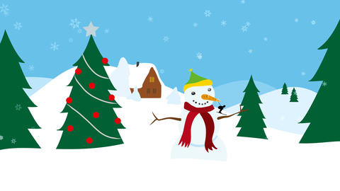 Winter landscape with christmas tree and snowman Animation