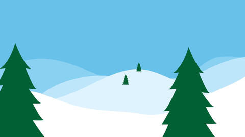 Winter landscape with christmas tree and snow Animation