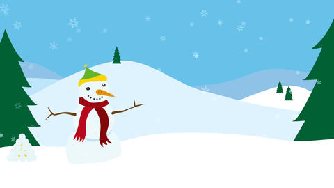 Winter landscape with snowman and falling snow Animation