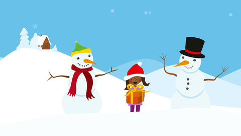 Children in snowy scenery. Animated christmas greeting Animation