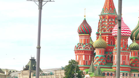 Saint Basil cathedral and the Moscow Kremlin wall Footage