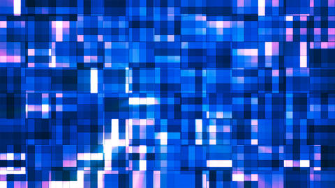 Broadcast Twinkling Squared Hi-Tech Blocks, Blue, Abstract, Loopable, 4K Animation