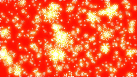 Christmas and New Year animation. Golden Christmas snowflakes on red background Animation