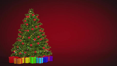 Christmas tree and gifts rotating on a red background. Seamless Looped animation Animation