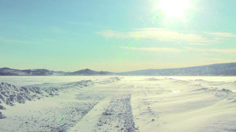 Ice Road Over Baikal Lake Footage