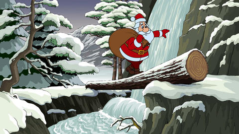 Santa crosses a river Animation
